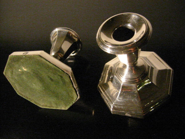 England Ellis Barker Silver Candle Holders With Hallmarks In Pair - Designer Unique Finds   - 4