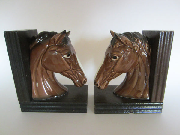 EW Japan Ceramic Horse Bookends - Designer Unique Finds