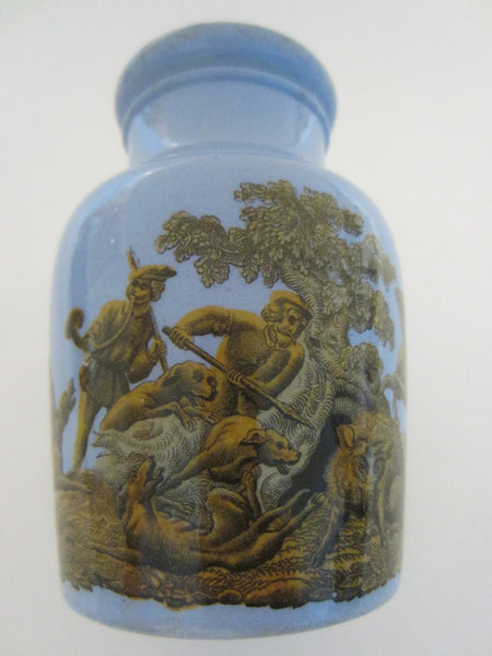 Medieval Style Pictorial Knights Figures Wild Animals Equestrian Blue  Jar