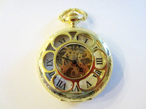 Brass Pocket Watch Floral Design Geometric Face Winding Mechanism