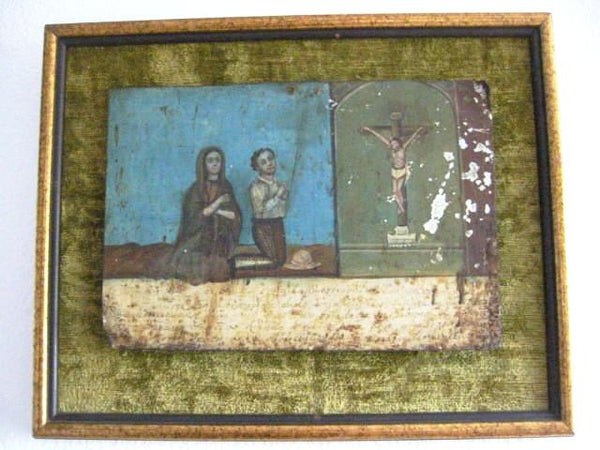 Ex Voto Spanish Tin Colonial Art From 19th Century - Designer Unique Finds   - 1