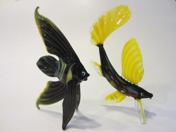 Exotic Russian Blown Art Glass Colored Fishes