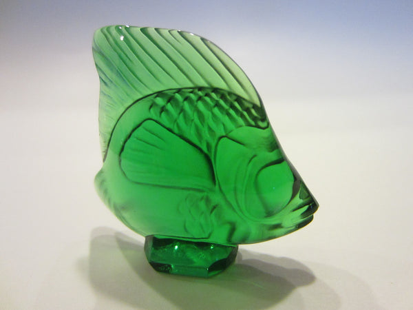 R Lalique France Miniature Crystal Signed Green Fish - Designer Unique Finds