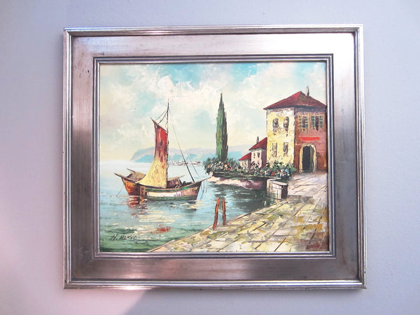 H Hugo Seascape Oil On Canvas Italian Coastal Scene Boats Villas - Designer Unique Finds   - 3