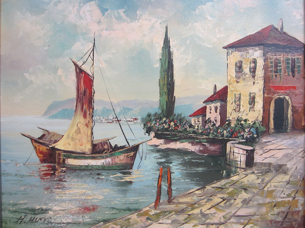 H Hugo Seascape Oil On Canvas Italian Coastal Scene Boats Villas - Designer Unique Finds   - 1