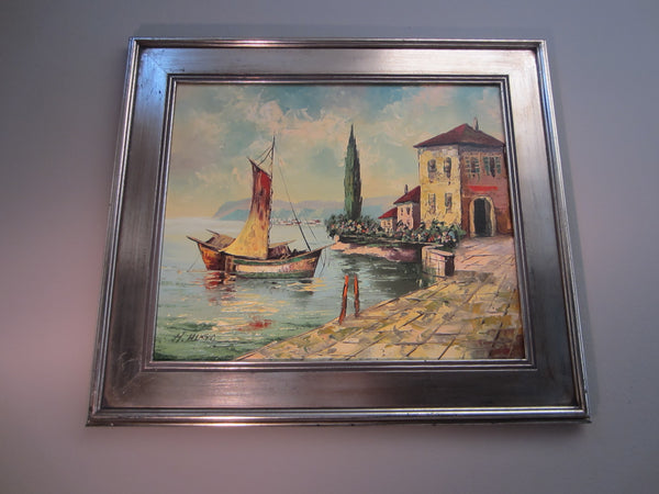 H Hugo Seascape Coastal Scene Signed Oil On Canvas