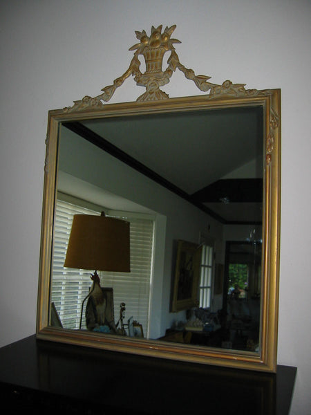 Baroque Revival Mirror Gilt Decorated Vase Crested Flower Fruits - Designer Unique Finds   - 1