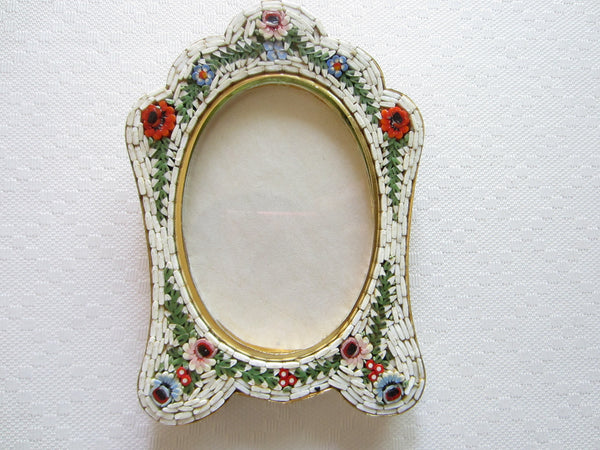 Italian Micro Mosaic Picture Frame Brass Self Stand Marked Italy - Designer Unique Finds