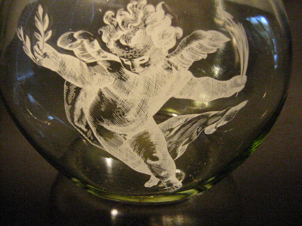 White Angel Glass Decanter Cork Top Ring Pull Stopper - Designer Unique Finds   - 2