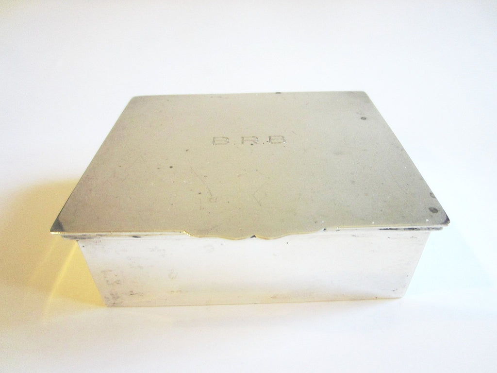 Cartier Sterling Humidor Monogram Cigar Box Etched Marks Flip Top