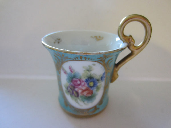 E G Decor Main Limoges France Tea Cup Floral Turquoise Gold