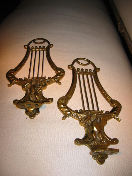 Brass Wall Brackets Figurative Decorated Dragon Birds Musical Scene - Designer Unique Finds   - 3