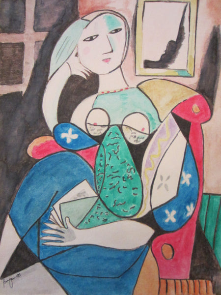 Abstract Contemporary Cubist A  Seated Woman Watercolor Signature Guache Bryan 95
