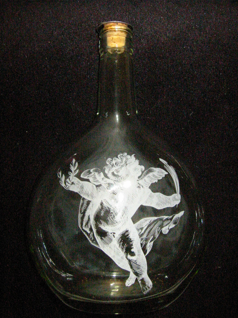 White Angel Glass Decanter Cork Top Ring Pull Stopper - Designer Unique Finds   - 1