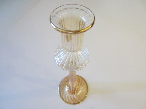 Barrovier Tosso Murano Glass Candle Holder Bud Vase Gold Inclusion