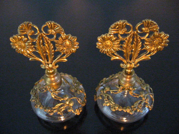 Ormolu Filigree Over Glass Daisies Perfume Bottles Matson Style - Designer Unique Finds   - 1