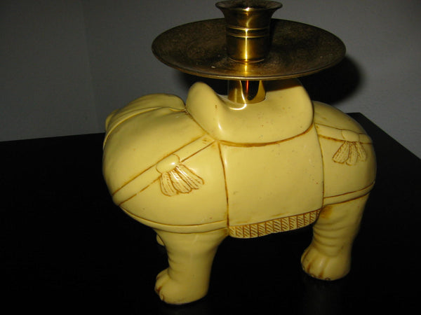 Art Deco Elephants Bearing Brass Candle Holders - Designer Unique Finds   - 11