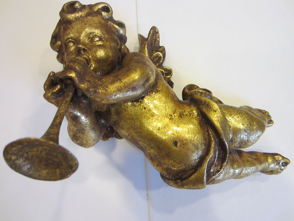 Heraldic Angel Wood Sculpture Trumpet Player Wings Emboss Gilt - Designer Unique Finds   - 1