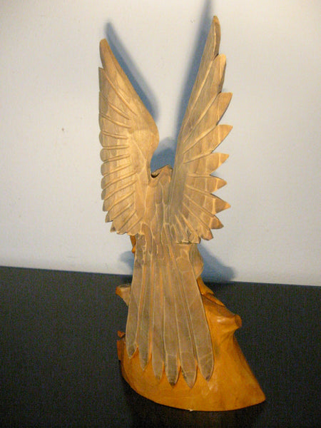 Russian Hand Carved Eagle Falcon With Baby Wood Sculpture - Designer Unique Finds