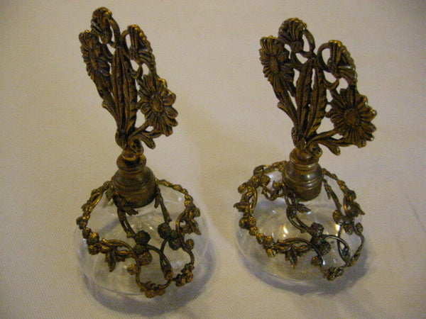 Ormolu Filigree Over Glass Daisies Perfume Bottles Matson Style - Designer Unique Finds   - 4