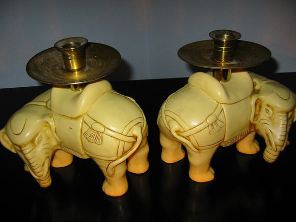Art Deco Elephants Bearing Brass Candle Holders - Designer Unique Finds   - 10
