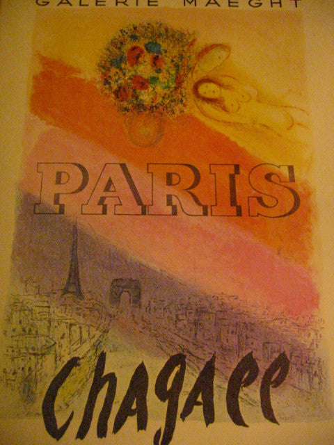 Paris Chagall Poster On Board Abstract Mid Century Vintage Museum Quality - Designer Unique Finds