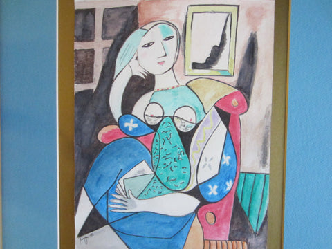 Abstract Contemporary Cubist A  Seated Woman Watercolor Signature Guache