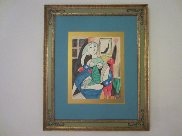 Abstract Cubist Seated Woman Watercolor Signature Guache Bryan 95