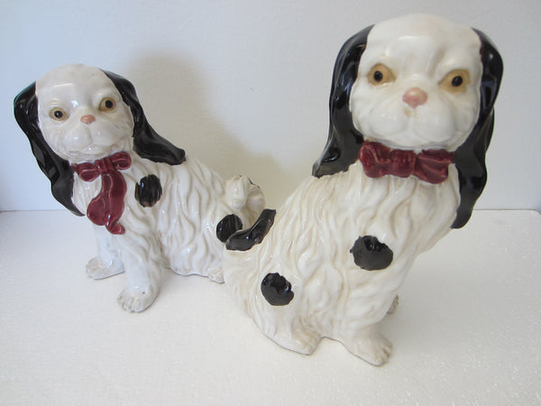 Staffordshire Style English Ceramic Spaniels Cavaliers Dogs - Designer Unique Finds
