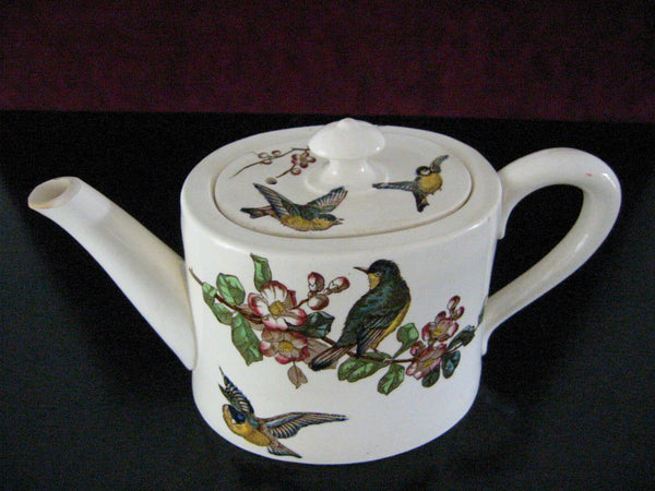 Grosvenor England Bisque Teapot Birds Flowers JG Late Mayers Gildea - Designer Unique Finds