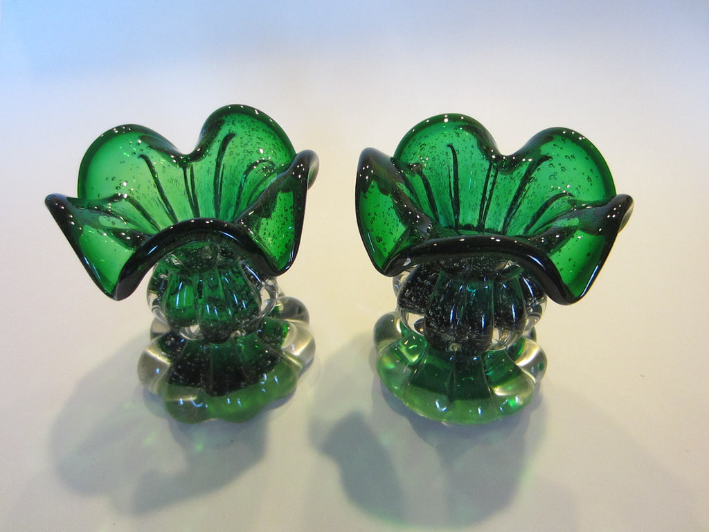 Murano Green Glass Votive Seguso Candle Holders Archimedes Arts