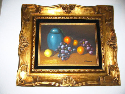 Kance Still Life Fruits Blue Jar Impressionist Oil On Canvas - Designer Unique Finds
