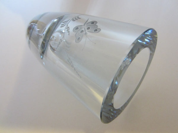Strombergshyttan Sweden Butterfly Vase Signed Art Crystal Vase - Designer Unique Finds