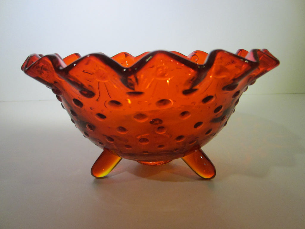 LE Smith Amberina Glass Hubnail Style Ruffled Footed Candy Bowl - Designer Unique Finds