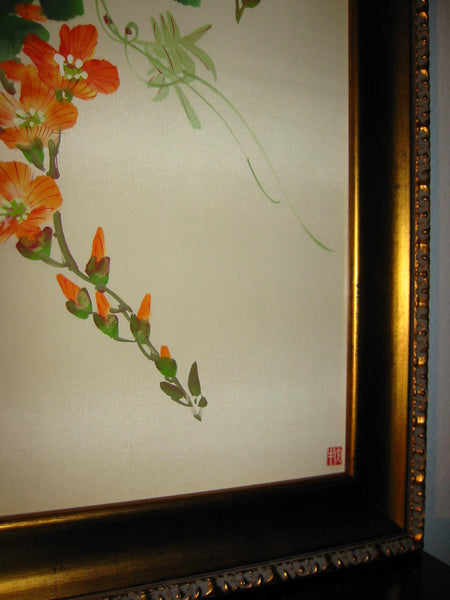 Asian Botanical Watercolor On Silk Decorated Bird Flowers Artist Calligraphy - Designer Unique Finds   - 5