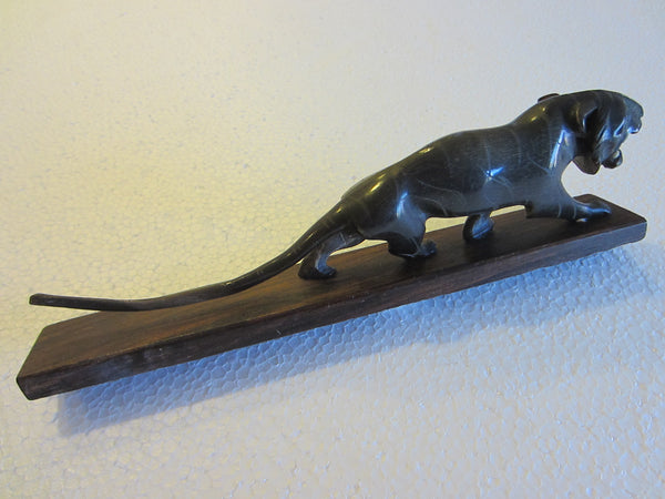 Art Deco Roaring Panther Curved Horn Hand Decorated Wood Stand - Designer Unique Finds   - 3