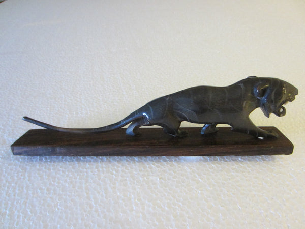 Art Deco Roaring Panther Curved Horn Hand Decorated Wood Stand - Designer Unique Finds   - 4