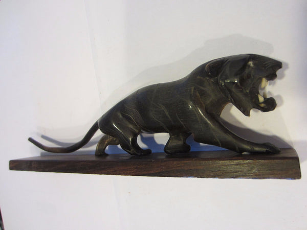 Art Deco Roaring Panther Curved Horn Hand Decorated Wood Stand - Designer Unique Finds   - 2