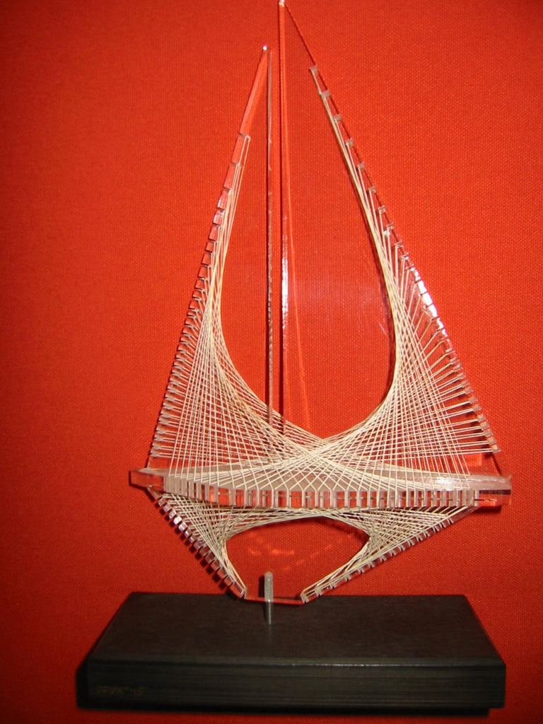 Nautical Lucite Sail Boat Sculpture Art Deco Wood Stand - Designer Unique Finds
