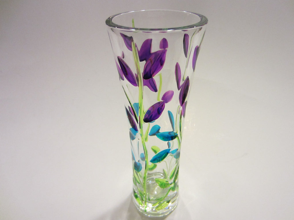 Murano Italy Glass Signature Flower Vase  Lavender Green Stem