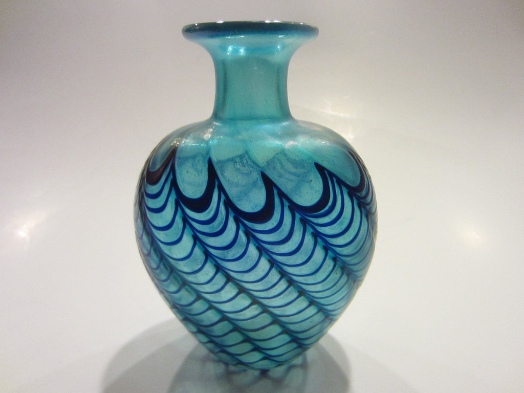 Robert Held Studio Glass Vase Iridescent Blue Signed - Designer Unique Finds