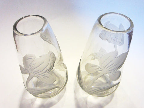 Legras Cameo Tulips France Pair of Glass Vases - Designer Unique Finds