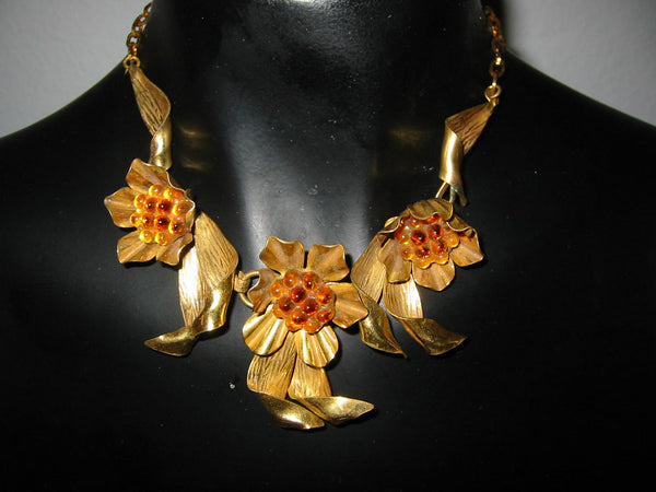 Mid Century Modern Orange Pulp Brass Choker Link Chain Necklace - Designer Unique Finds