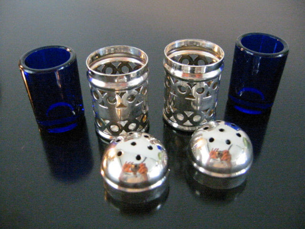 Apex English Silver Plate Filigree Cased Glass Salt Pepper Shakers - Designer Unique Finds   - 3