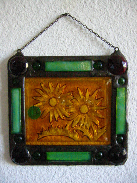 Stained Glass Sun Catcher Folk Art Leaded Glass Depicting Jeweled Sunflower - Designer Unique Finds   - 2