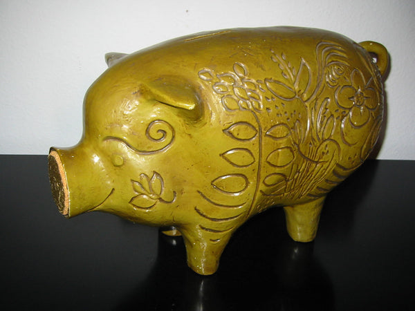California Pottery Piggy Bank Cork Stopper Floral Etching Signed - Designer Unique Finds