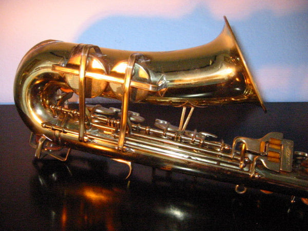Buescher Aristocrat Elkhart Brass Saxophone Mother Of Pearl Bakelite - Designer Unique Finds   - 9