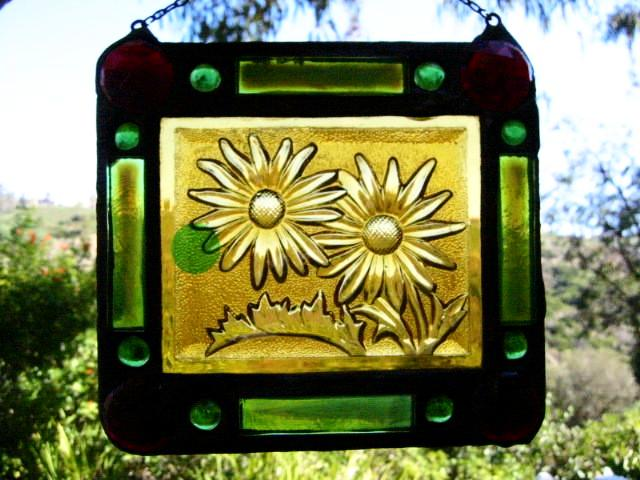 Stained Glass Sun Catcher Folk Art Leaded Glass Depicting Jeweled Sunflower - Designer Unique Finds   - 1