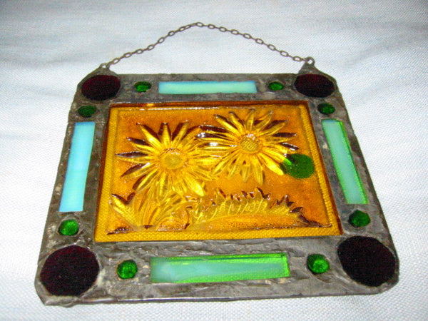 Stained Glass Sun Catcher Folk Art Leaded Glass Depicting Jeweled Sunflower - Designer Unique Finds   - 4