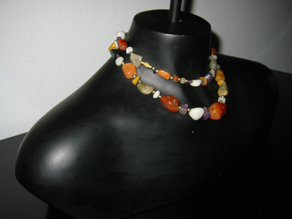 Strand Carnelians Agates Gems Bead Necklace - Designer Unique Finds